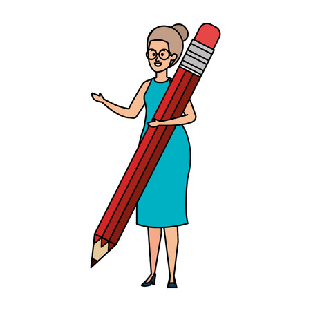 young teacher female with pencil character vector illustration design Ilustração