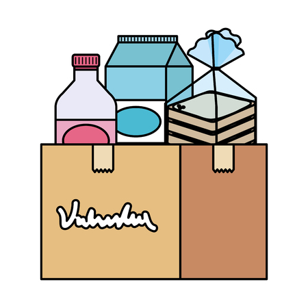 donation box with food vector illustration design