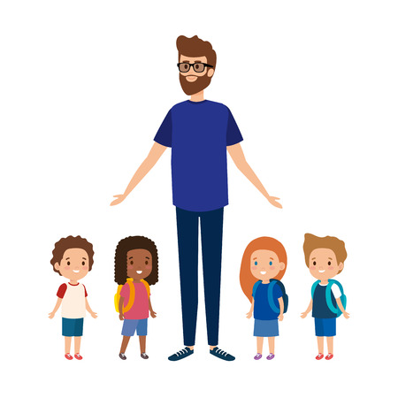 young teacher male with little students vector illustration design 向量圖像
