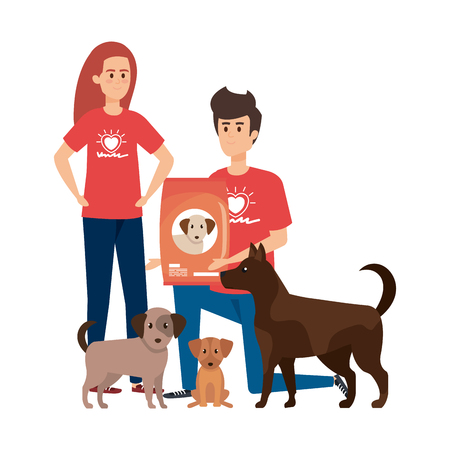 young volunteers couple with cute dogs and food vector illustration design