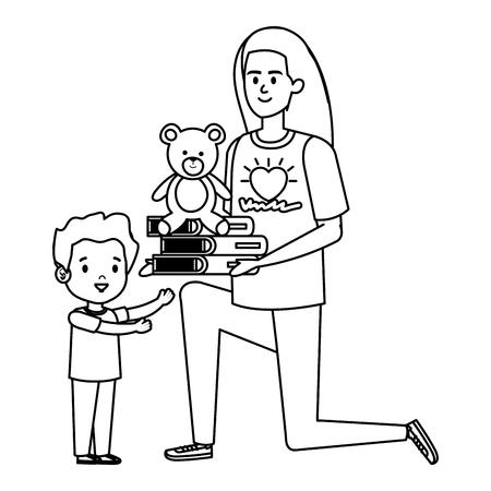 woman volunteer giving a boy books and bear teddy vector illustration design Vetores