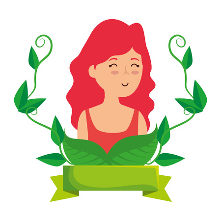young woman with ecology frame vector illustration design