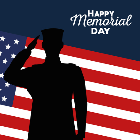 usa soldier with flag to memorial day vector illustration