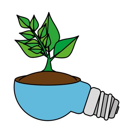 saver bulb energy with plant vector illustration design