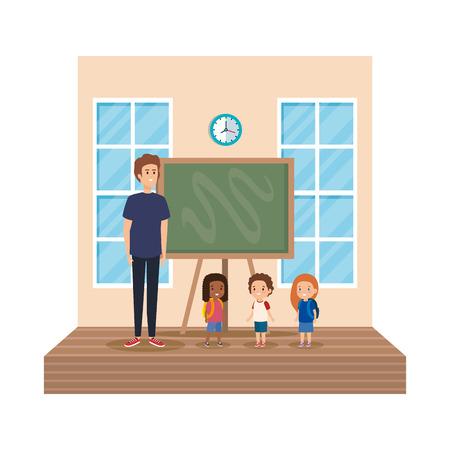 teacher male with school kids in classroom vector illustration design