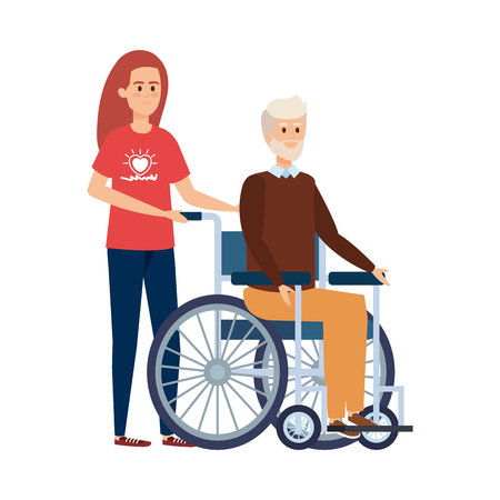 young woman volunteer with old man in wheelchair vector illustration design
