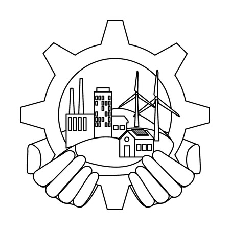 hands lifting building factory in gear vector illustration design
