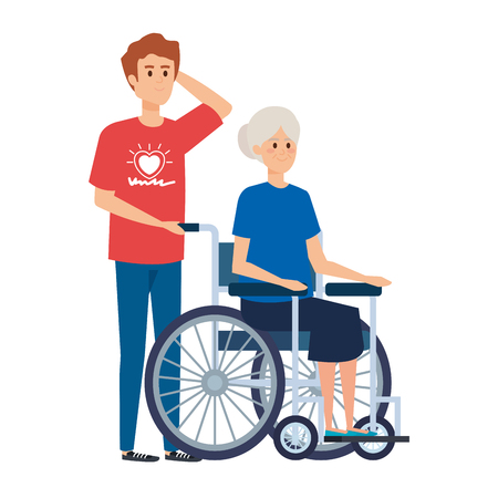 young man volunteer with old woman in wheelchair vector illustration design