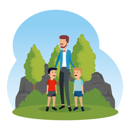 young father with sons characters in the landscape vector illustration design  イラスト・ベクター素材