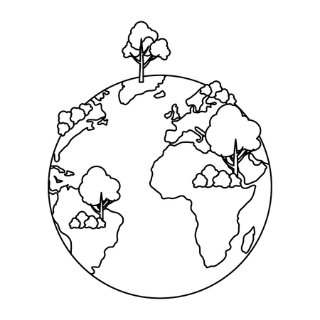world planet earth with tree plant vector illustration design Vectores