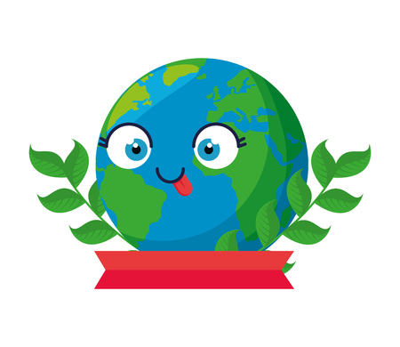 world planet earth with leafs character vector illustration design
