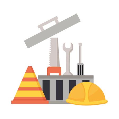 Werkzeugkasten Helm Werkzeuge Baumaschinen Vektor-Illustration