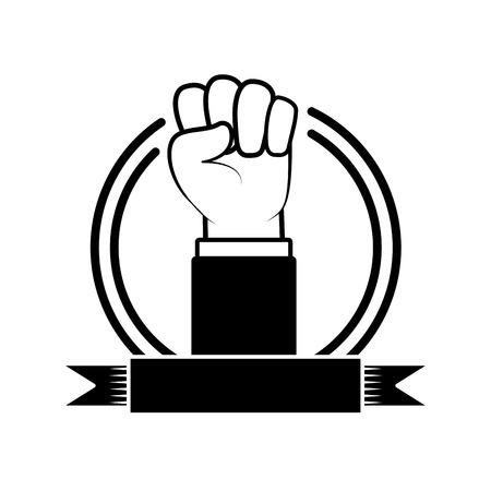 happy labour day hand raised fist vector illustration