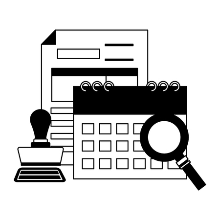 calendar form paid stamp magnifier tax payment  vector illustration