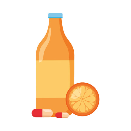 juice bottle orange medicine world health day vector illustration Ilustrace