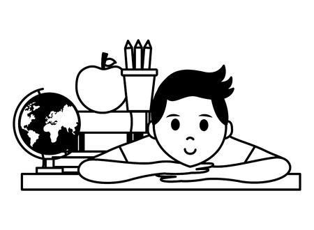 student school globe apple books teachers day vector illustration