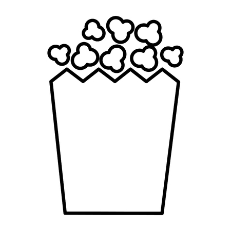 popcorn snack in box outline on white background vector illustration
