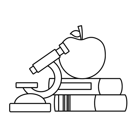 school apple microscope books supplies vector illustration design
