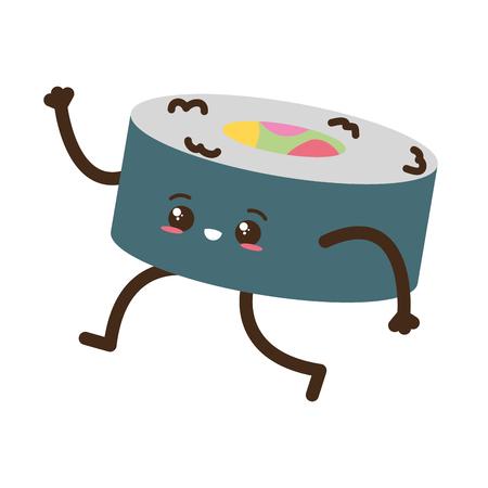 kawaii cartoon sushi character vector illustration design Illustration