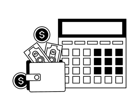 calculator and wallet money tax time payment vector illustration Standard-Bild - 123480643