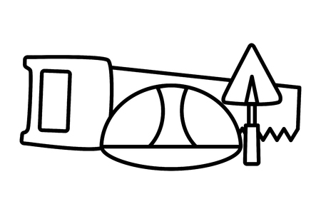 saw spatula helmet construction tool design vector illustration