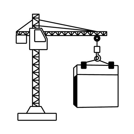 calendrier de la fête du travail heureux et illustration vectorielle de grue Vecteurs