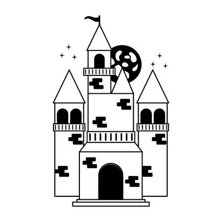 fairy castle black and white vector illustration Ilustração