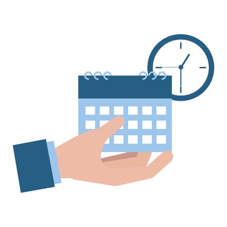 kalendarz ręczny i ilustracja wektorowa płatności podatku zegar