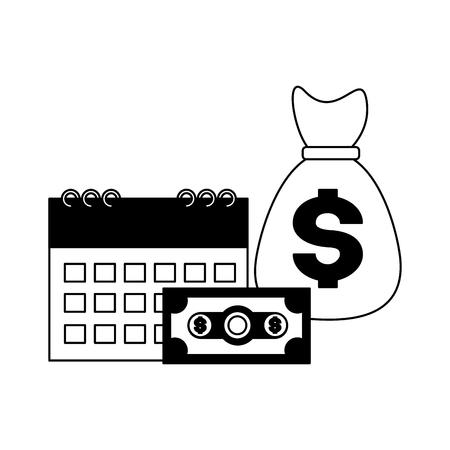 banknote money bag calendar tax payment  vector illustration