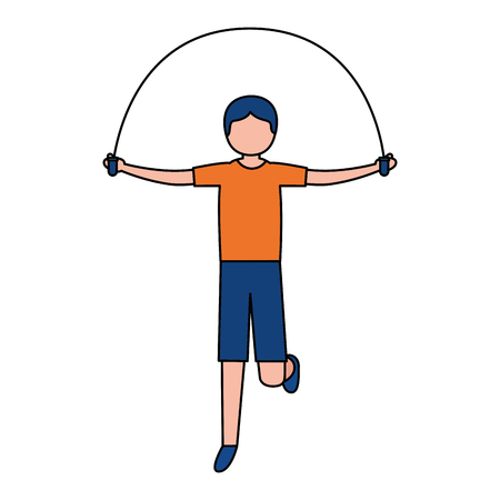 sporty man jumping rope activity vector illustration