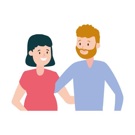happy pregnant couple family vector illustration design Ilustração