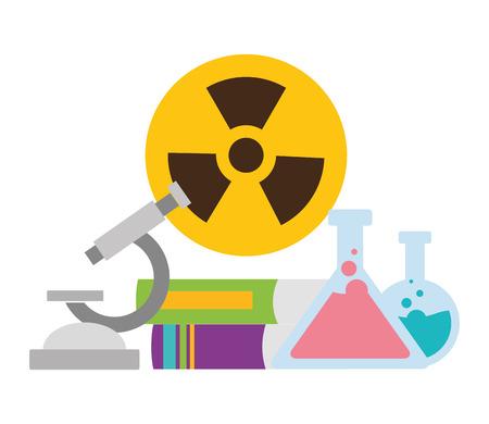 school science test flasks radiation sign vector illustration design Foto de archivo - 121008377
