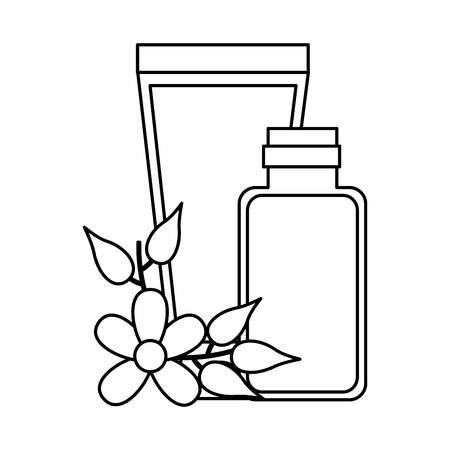 skin cream flowers spa treatment therapy vector illustration Illustration