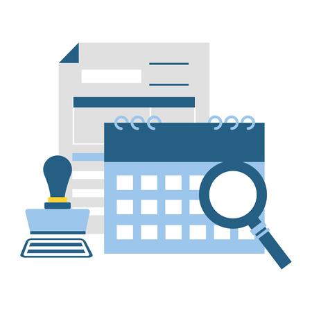 calendar form paid stamp magnifier tax payment vector illustration Vektoros illusztráció