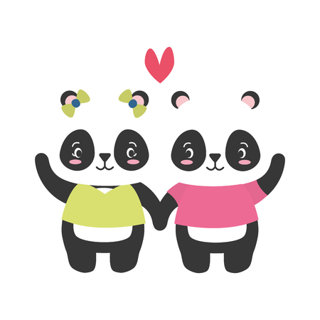 cute couple panda animal cartoon vector illustration design