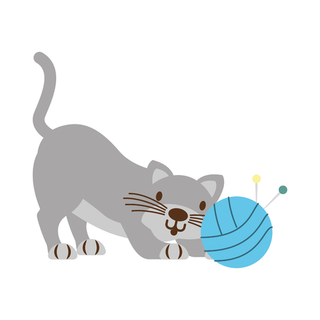 cat with ball of yarn isolated icon ilustration vector