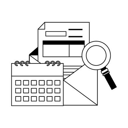 tax payment document calendar magnifier mail vector illustration