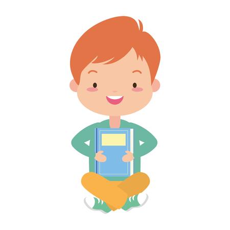 boy holding textbook - world book day vector illustration Standard-Bild - 123480845