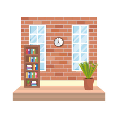 house place with window and houseplant vector illustration design Stock Vector - 121008490