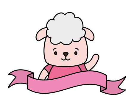 cute sheep face cartoon vector illustration design 일러스트