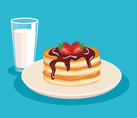 pancakes with strawberries fruits and milk glass vector illustration Çizim