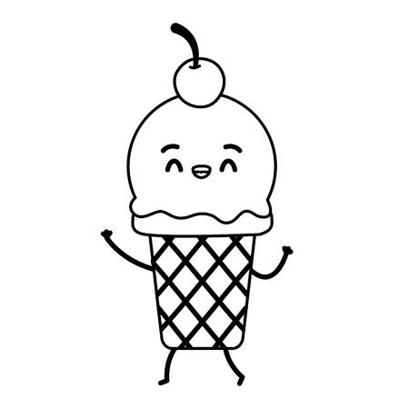 kawaii ice cream fast food cartoon vector illustration Çizim