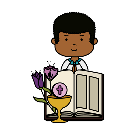 little black boy with bible and flowers first communion character vector illustration Banque d'images - 121008625