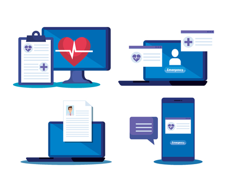 set medical diagnosis and online technology service vector illustration Çizim