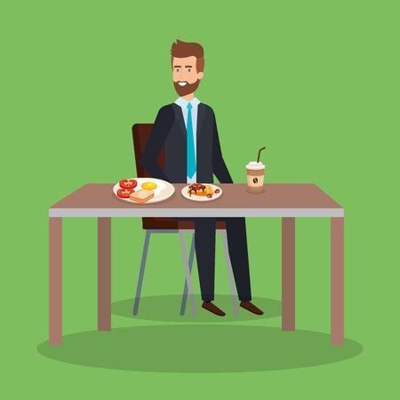 elegant man eating fried egg and waffles vector illustration