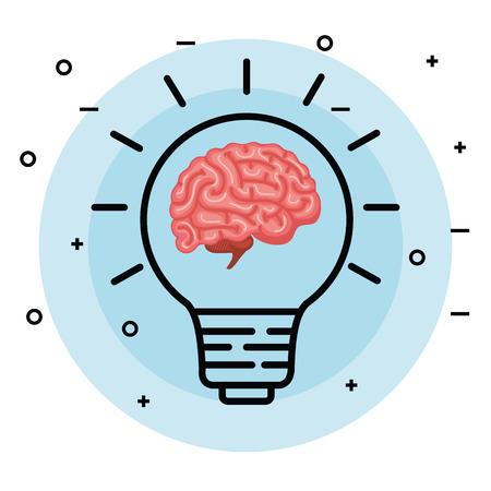 Cerebro con idea de bombilla creativa a la ilustración de vector de memoria Ilustración de vector