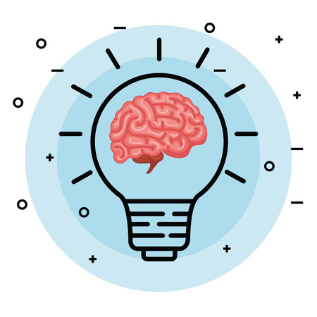 brain with creative bulb idea to memory vector illustration
