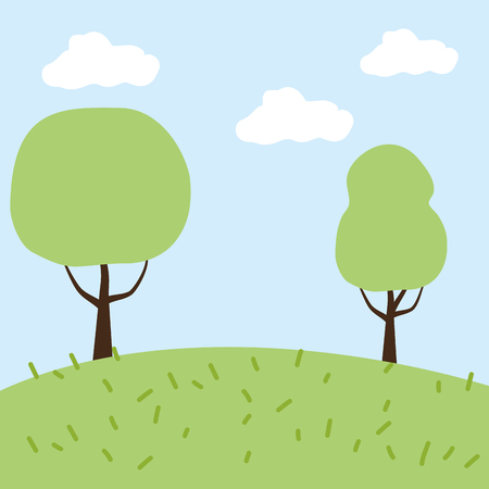 trees meadow landscape nature vector illustration design