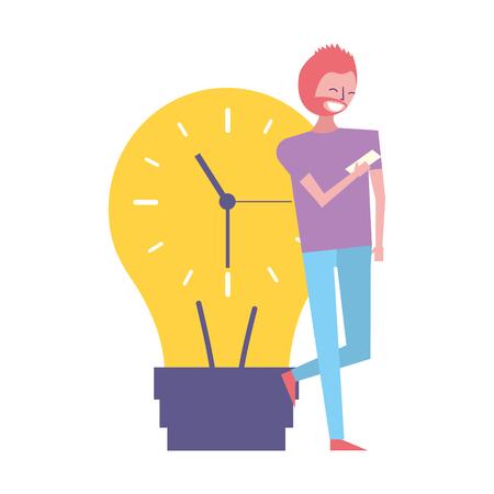 businessman mobile clock bulb time work vector illustration
