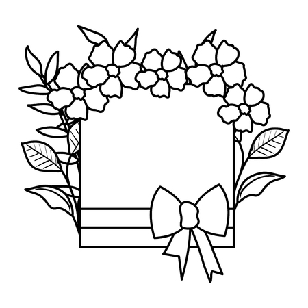 beautiful flowers and leafs square frame vector illustration design